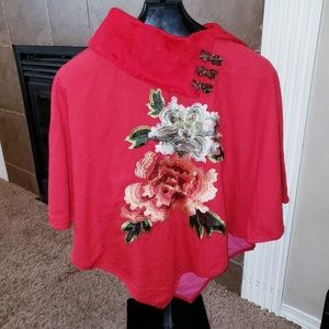 ASIAN EMBROIDERED ROSE PULLOVER RED COLLAR PONCHO